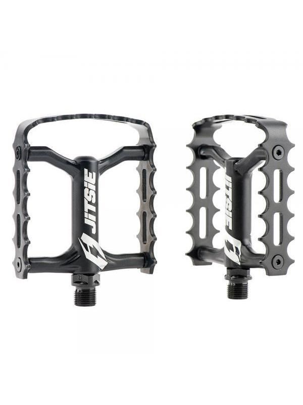 Pedales Jitsie mono jaula - Negro - Pedales Jitsie mono jaula de alta calidad fabricado en aluminio 7075. Ideal para competición. Pedales muy ligeros, solo 305 gramos de peso el par.