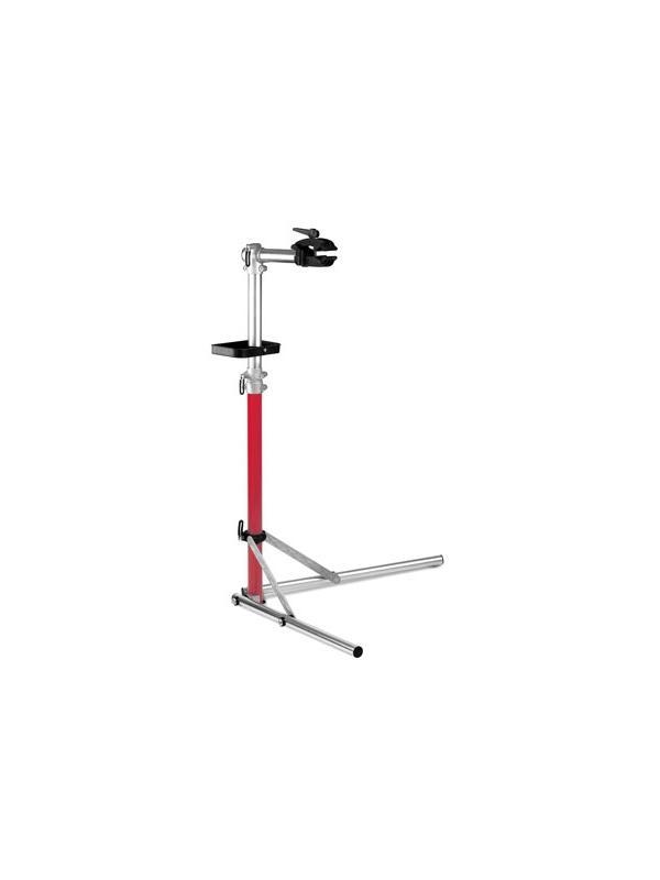 Caballete para taller y hogar - Soporte-caballete para reparar o hacer el mantenimiento de la bicicleta de manera limpia y cómoda. Ajustable en altura. Bandeja para herramientas y pinza para fijar la bicicleta. Plegable y fabricado en aluminio.