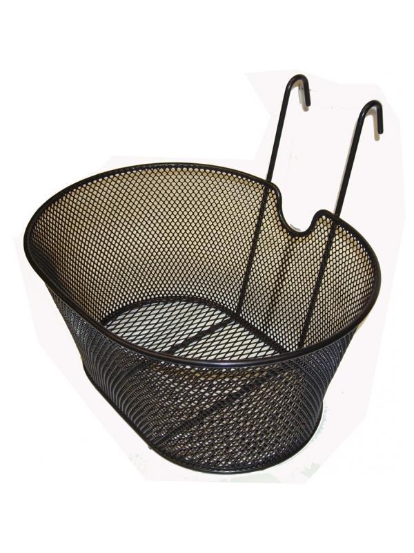 Cesta metálica ganchos - Cesta metálica con anclaje de ganchos. Se cuelga del manillar fácilmente. Ideal para las pequeñas compras diarias. Muesca central para facilitar el paso de los cables.