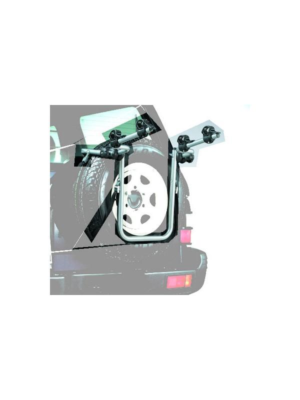 Portabicis 4x4 - Portabicis fabricado en acero para vehículos 4x4. Se soporta en la rueda de recambio y aguanta un peso máximo de 30 kg. Apto para 2 bicicletas.
