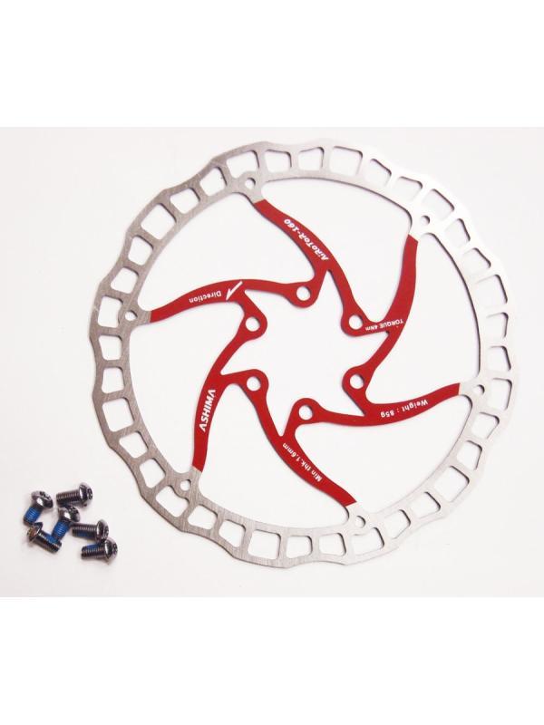 Disco de freno ASHIMA 160mm SUPERLIGHT ROJO  - Disco de freno ASHIMA de 160mm de diámetro Superlight. Válido para freno delantero como trasero. Peso de 85 gramos. Incluye los 6 tornillos de fijación. Usado por los mejores pilotos del mundo de Biketrial y Trial.