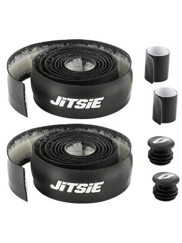 Cinta de manillar Jitsie - Negro y blanco - Cinta de manillar Jitsie para enrollar en el manillar, ideal para BikeTrial. Material antideslizante y acolchado para un máximo agarre.  2 rollos de 130 cm. de largo y 30 mm de ancho (para 4 puños finos). 2 cintas negras de 165 mm. x 25 mm. 2 cintas acolchadas de 125 mm. x 30 mm. Incluye dos tapones de manillar. Color: negro con logotipos Jitsie en blanco.  Peso: 55 gr. (tapones incluidos).