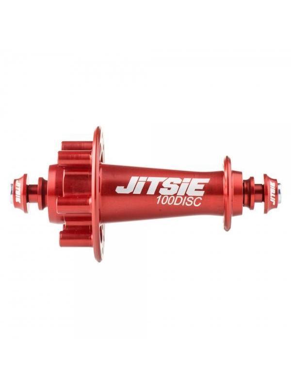 Buje delantero Jitsie Race 100mm para Disco - Rojo - Nuevo buje delantero ultraligero Jitsie Race 100 Disc con 28 ajugeros. Es el buje para disco más ligero del mercado para biketrial con un peso de solo 97gr.