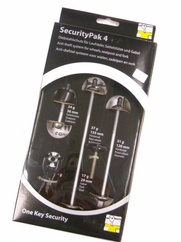 Pinhead Pack Seguridad 4 antirrobo ruedas - Sistema antirrobo para ruedas que dispongan de cierres rápidos. Fabricado con la más alta calidad, dispone de una llave única y exclusiva. Deja la bicicleta tranquilamente y sin miedo a robos.  Fabricado por Pinhead.
