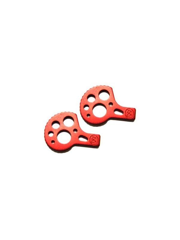 Tensores cadena Monty (Diferentes colores) - Juego de tensores de cadena para bicicletas de Biketrial y Trial. Adaptables a bicicletas con eje agujereado (fijación por tornillo) y a ruedas con eje macizo (fijación por tuerca. Aluminio anodizado rojo. Incluye esparragos M6 para el chasis.