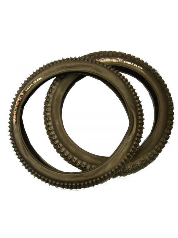 Neumáticos Eagle Claw JUEGO - Los neumáticos para los profesionales en medidas 20x2.0 y 19x2.60. Tecnología Eagle claw de Monty. Máximo agarre y calidad al mejor precio. Usados por el Campeón del Mundo de Biketrial.