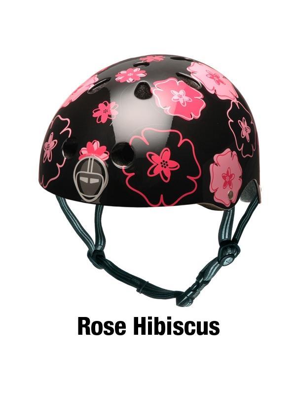 """Casco Nutcase Rose Hibiscus - Seguridad y diseño no están reñidos. Nutcase, firma norteamericana nacida en 2005, se ha especializado en la fabricación de cascos multifuncionales con estampados llamativos y, por qué no, de aspecto cool. La línea está inspirada en los cascos urbanos de BMX y skate. Protección craneal, que trae por lema """"Love your brain""""."""