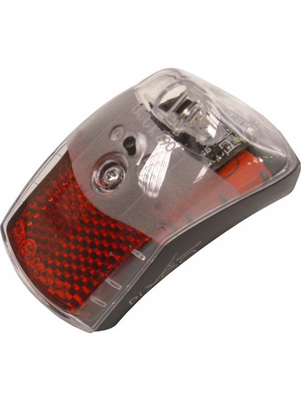Luz trasera para guardabarros - Luz trasera de alta visibilidad diseñada para adaptar directamente sobre el guardabarros trasero. Incluye tornillos para poder fijarlo fácilmente. Incluye catadrióptico para mayor seguridad. Funcionamiento a pilas con 2 pilas tipo AAA. Incluye soporte para fijar en la bicicleta.