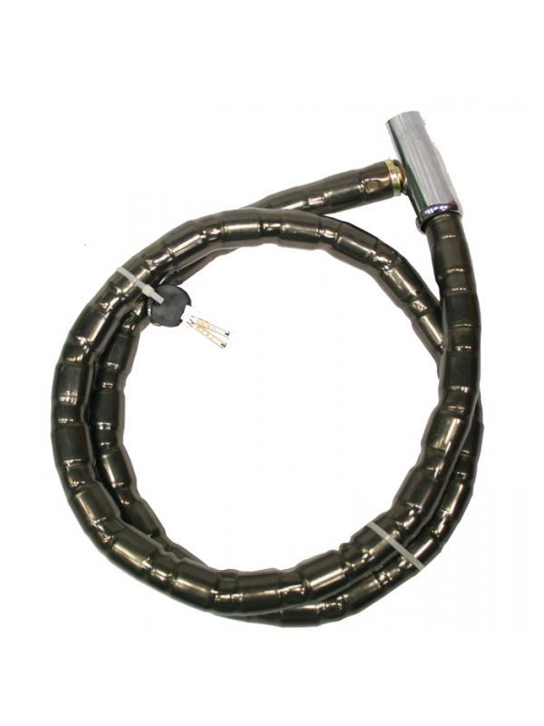 Antirrobo articulado 22mm - Antirrobo articulado por cilindros metálicos TRIPLEX de acero con cierre de cabeza metálica. 150cm de largo y diámetro de 22mm. Llave de puntos.