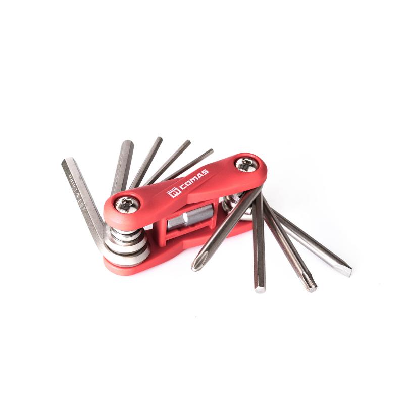 Multi herramienta Comas - 10 funciones - Rojo - Kit llave multi herramienta Comas con 10 funciones. Ideal para llevar en la mochila de todo trialero. Ligeras, compactas y con diferentes herramientas esenciales para ajustar una bicicleta de biketrial.